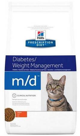 Karma sucha Hill's Prescription Diet Glucose/Weight Management m/d Feline z kurczakiem 1,5kg